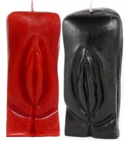 5 INCH GENITALIA / FEMALE GENDER VAGINA RITUAL CANDLE - BLACK