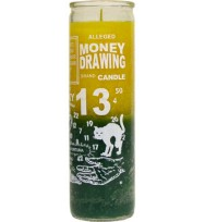 7 DAY CANDLE 2 COLOR MONEY DRAWING – GOLD / GREEN 2 1/2″ wide and 8 1/8″ tall