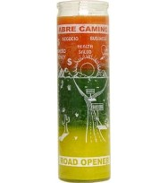 7 DAY CANDLE 3 COLORS ROAD OPENER – ORANGE / GREEN / GOLD 2 1/2″ wide and 8 1/8″ tall