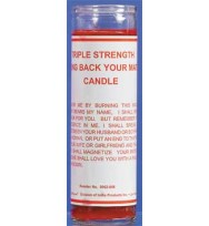 7 SISTERS OF NEW ORLEANS 7 DAY GLASS DRESSED CANDLE BRING BACK YOUR MATE TRIPLE STRENGTH – RED 2 1/2″ wide and 8 1/8″ tall