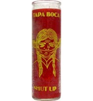 7 DAY GLASS CANDLE SHUT UP – RED 2 1/2″ wide and 8 1/8″ tall