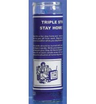 7 SISTERS OF NEW ORLEANS 7 DAY GLASS DRESSED CANDLE STAY AT HOME TRIPLE STRENGTH – BLUE  2 1/2″ wide and 8 1/8″ tall