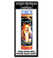 MYSTICAL FIXED 7 DAY GLASS CANDLE AGAINST BLACK MAGIC – RED 2 1/2″ wide and 8 1/8″ tall