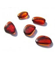 Raw Dark Amber Flat Gemstones Very Small Set of 5 Stones