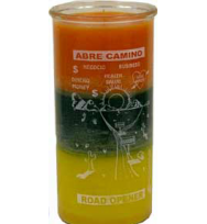 14 DAY CANDLE ROAD OPENER – ORANGE, GREEN & GOLD 4″ Wide and 9″ Tall