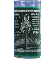 14 DAY CANDLE ST. JUDE – GREEN 4″ Wide and 9″ Tall