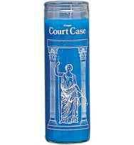 7 DAY GLASS CANDLE COURT CASE – BLUE 2 1/2″ wideand 8 1/8″ tall