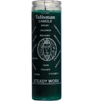 7 DAY GLASS CANDLE STEADY WORK – GREEN 2 1/2″ wideand 8 1/8″ tall